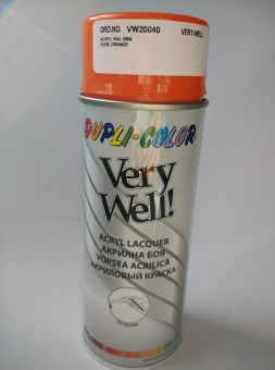 Спрей боя DUPLI-COLOR Very Well акрилна боя оранжев гланц код RAL20040